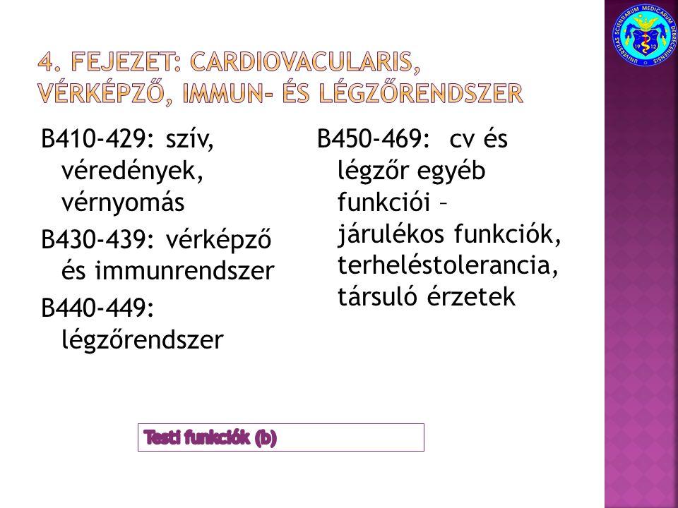 B410-429: szív, véredények, vérnyomás B430-439: vérképző és immunrendszer B440-449: légzőrendszer B450-469: cv és légzőr egyéb funkciói – járulékos fu