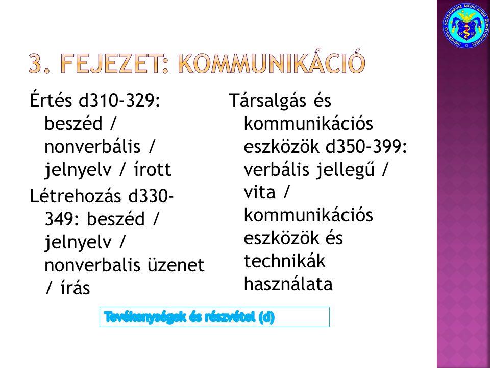 Értés d310-329: beszéd / nonverbális / jelnyelv / írott Létrehozás d330- 349: beszéd / jelnyelv / nonverbalis üzenet / írás Társalgás és kommunikációs