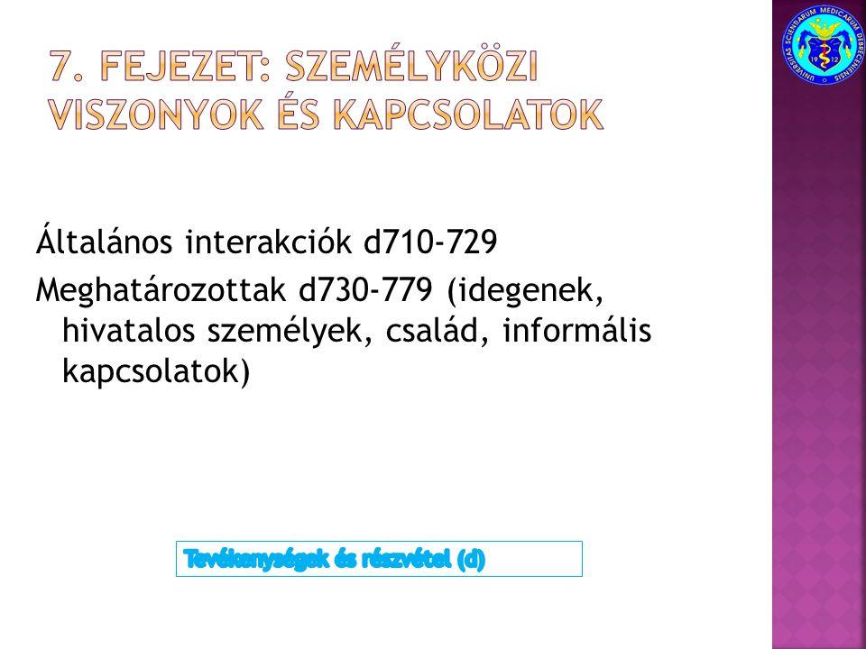 Általános interakciók d710-729 Meghatározottak d730-779 (idegenek, hivatalos személyek, család, informális kapcsolatok)