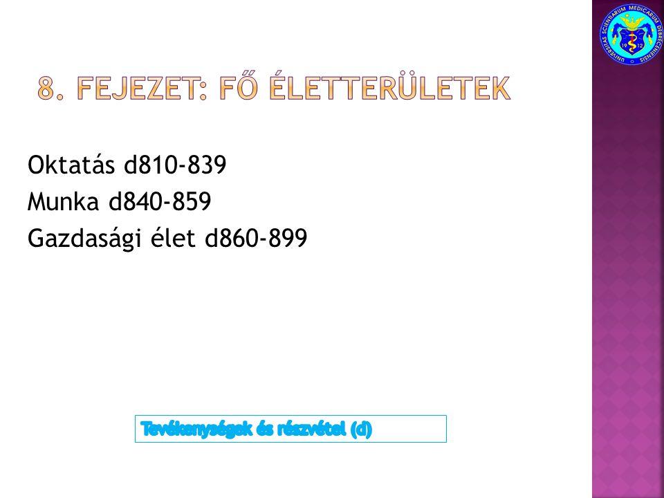 Oktatás d810-839 Munka d840-859 Gazdasági élet d860-899