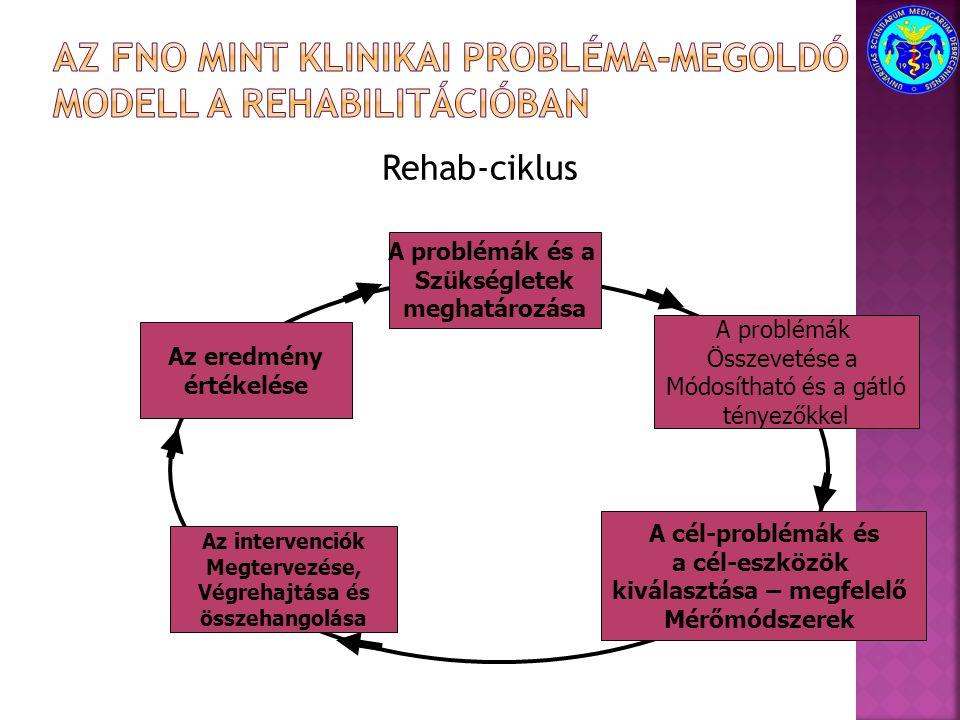 Rehab-ciklus A problémák és a Szükségletek meghatározása A problémák Összevetése a Módosítható és a gátló tényezőkkel A cél-problémák és a cél-eszközö