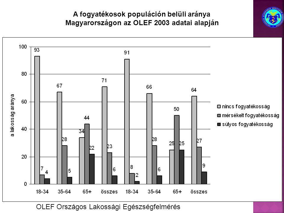 A fogyatékosok populáción belüli aránya Magyarországon az OLEF 2003 adatai alapján OLEF Országos Lakossági Egészségfelmérés