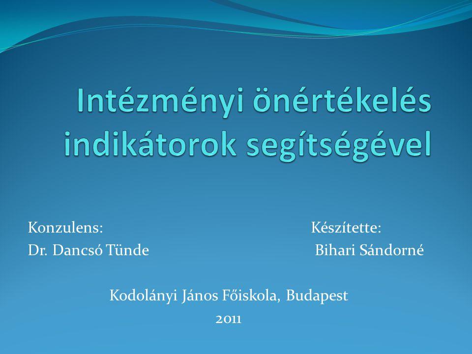 Konzulens: Készítette: Dr. Dancsó Tünde Bihari Sándorné Kodolányi János Főiskola, Budapest 2011