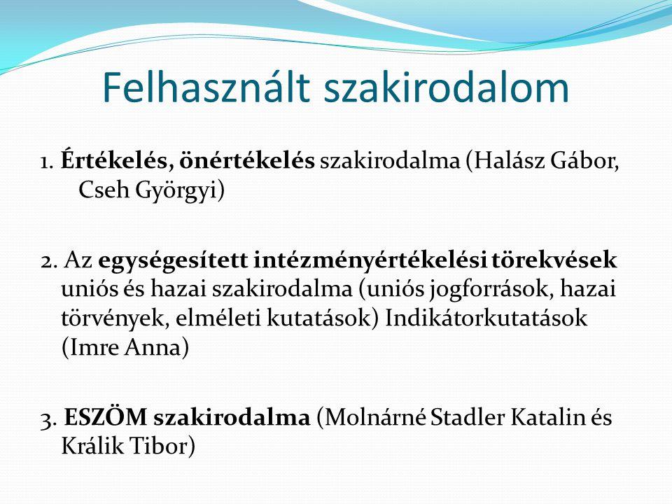 Felhasznált szakirodalom 1. Értékelés, önértékelés szakirodalma (Halász Gábor, Cseh Györgyi) 2. Az egységesített intézményértékelési törekvések uniós