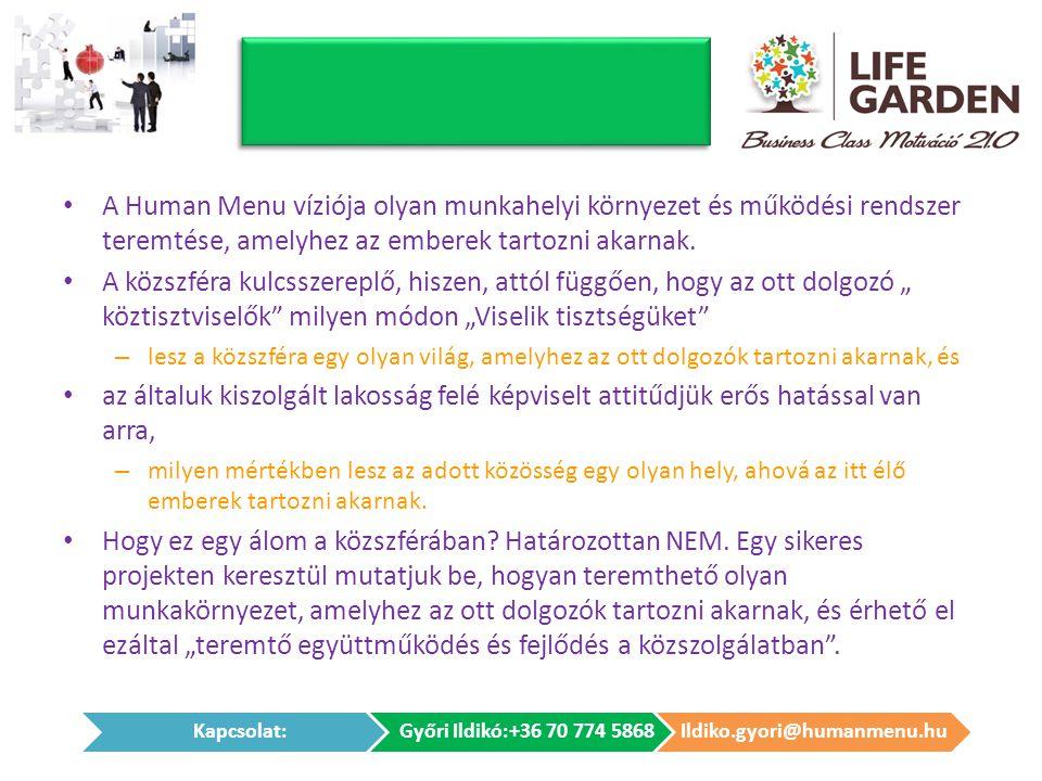 • A Human Menu víziója olyan munkahelyi környezet és működési rendszer teremtése, amelyhez az emberek tartozni akarnak. • A közszféra kulcsszereplő, h