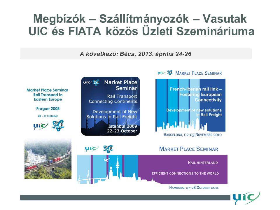 Megbízók – Szállítmányozók – Vasutak UIC és FIATA közös Üzleti Szemináriuma A következő: Bécs, 2013.