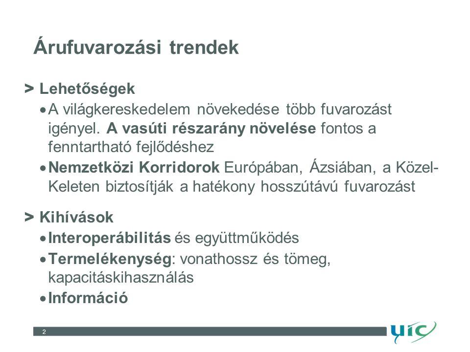 2 Árufuvarozási trendek > Lehetőségek  A világkereskedelem növekedése több fuvarozást igényel.