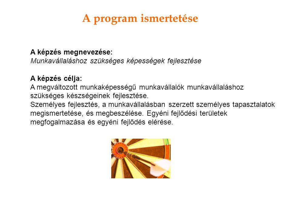 A program ismertetése A képzés megnevezése: Munkavállaláshoz szükséges képességek fejlesztése A képzés célja: A megváltozott munkaképességű munkavállalók munkavállaláshoz szükséges készségeinek fejlesztése.