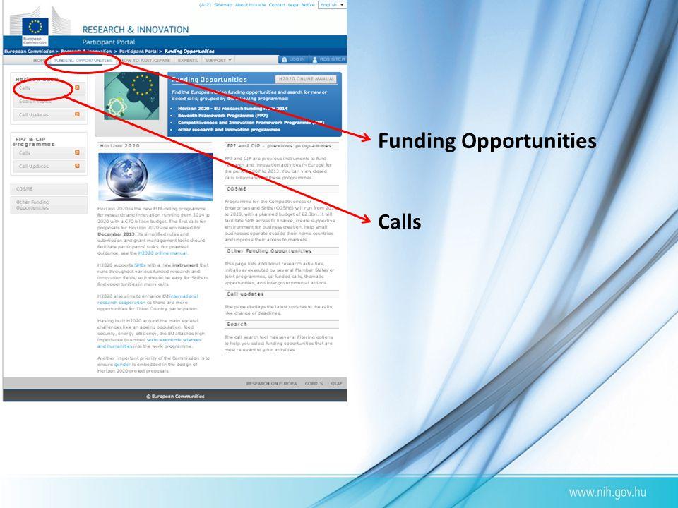 Funding Opportunities Calls
