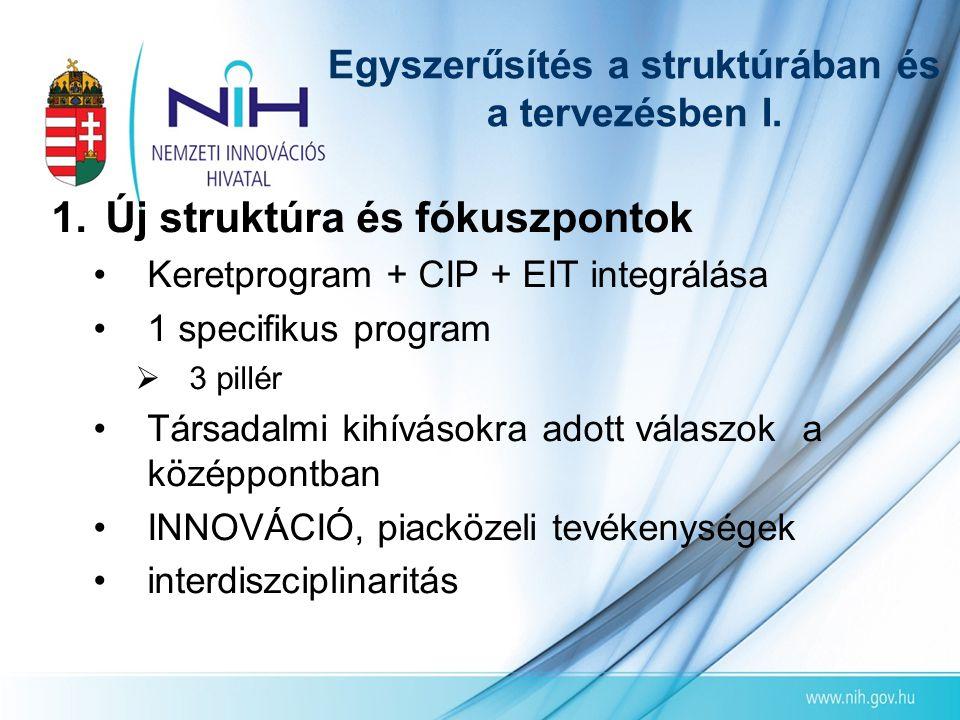 Egyszerűsítés a struktúrában és a tervezésben I. 1.Új struktúra és fókuszpontok •Keretprogram + CIP + EIT integrálása •1 specifikus program  3 pillér