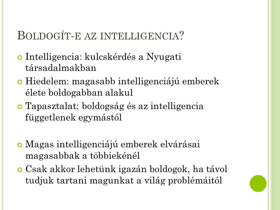 B OLDOGÍT - E AZ INTELLIGENCIA ? Intelligencia: kulcskérdés a Nyugati társadalmakban Hiedelem: magasabb intelligenciájú emberek élete boldogabban alak