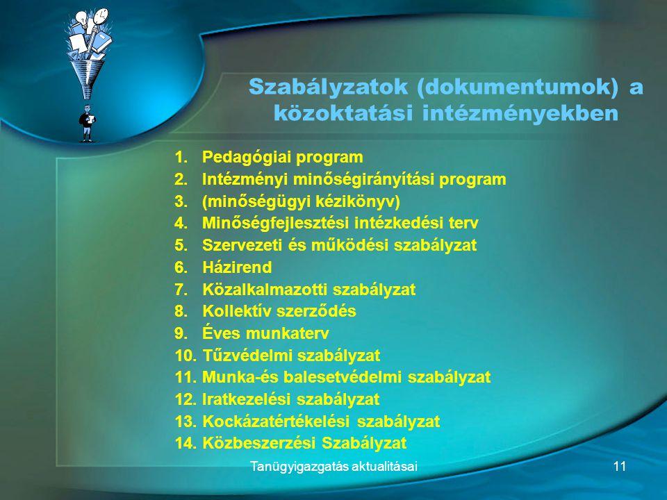1.Pedagógiai program 2.Intézményi minőségirányítási program 3.(minőségügyi kézikönyv) 4.Minőségfejlesztési intézkedési terv 5.Szervezeti és működési s