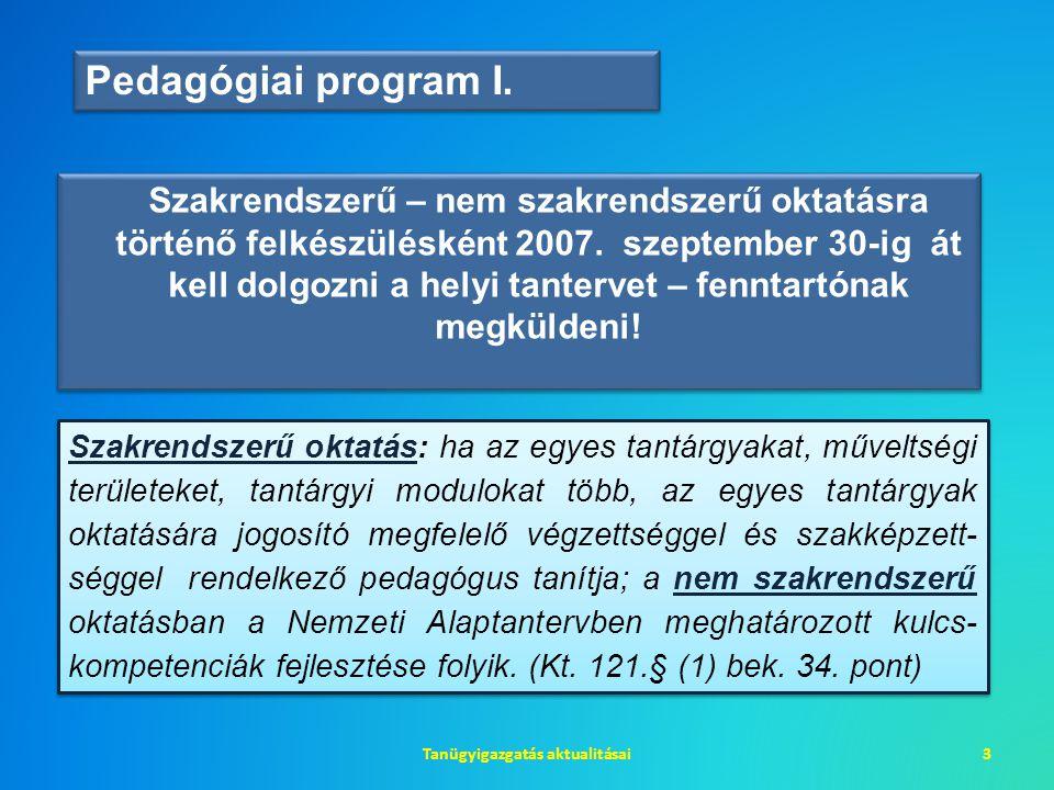 Szakrendszerű – nem szakrendszerű oktatásra történő felkészülésként 2007. szeptember 30-ig át kell dolgozni a helyi tantervet – fenntartónak megkülden