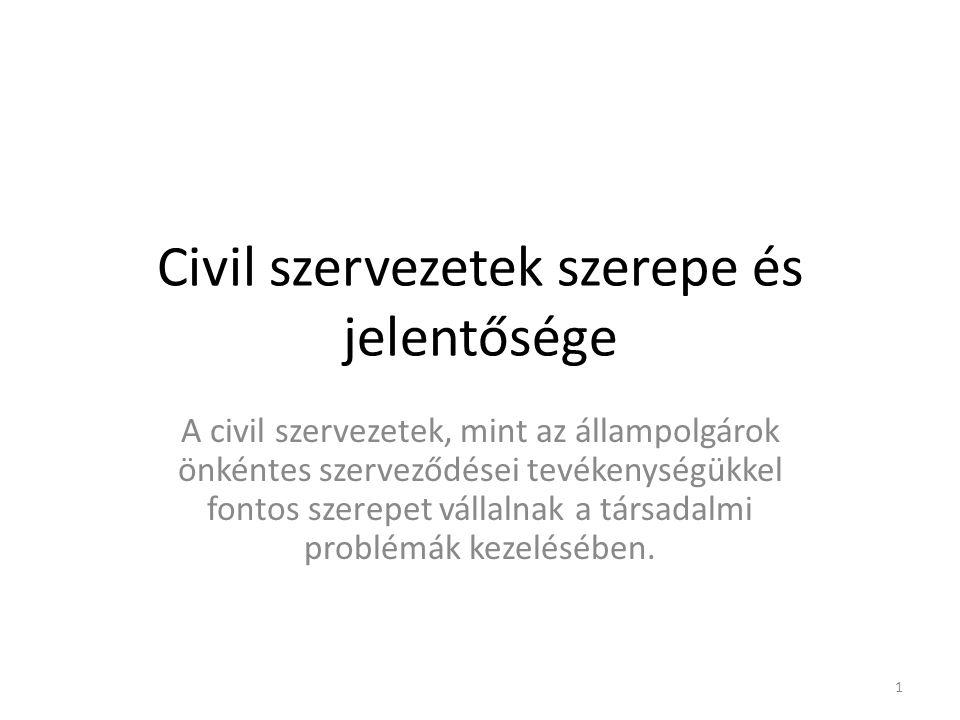 Civil szervezetek szerepe és jelentősége A civil szervezetek, mint az állampolgárok önkéntes szerveződései tevékenységükkel fontos szerepet vállalnak