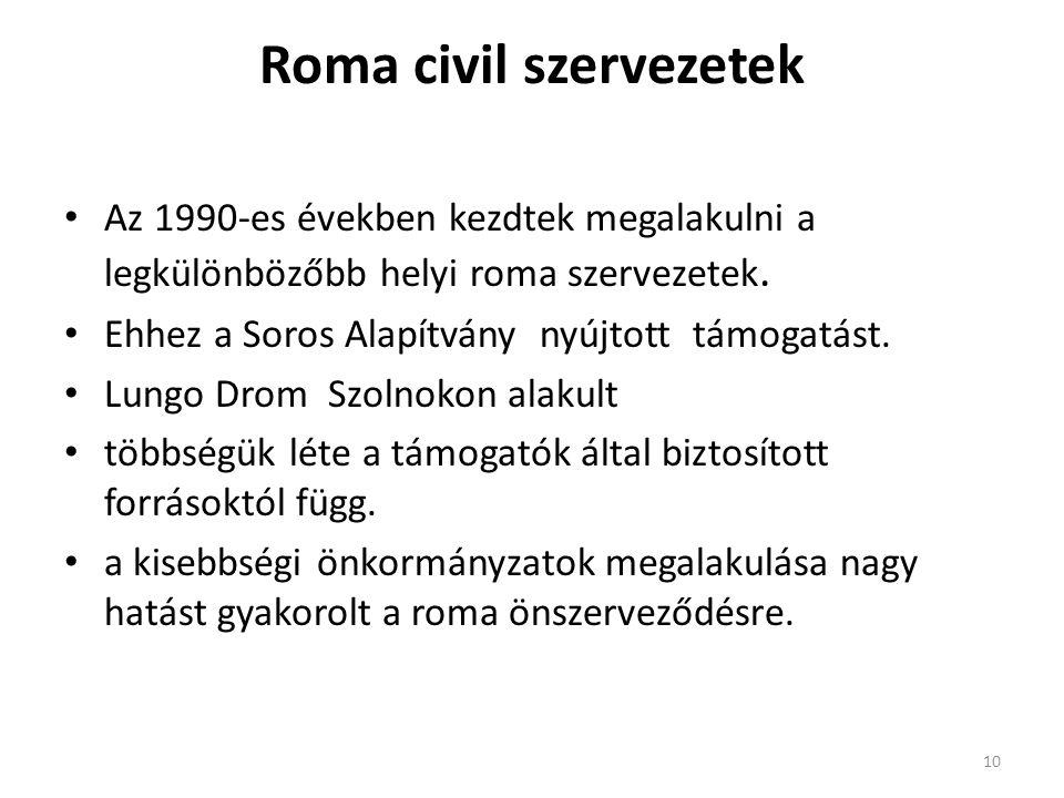 Roma civil szervezetek • Az 1990-es években kezdtek megalakulni a legkülönbözőbb helyi roma szervezetek. • Ehhez a Soros Alapítvány nyújtott támogatás