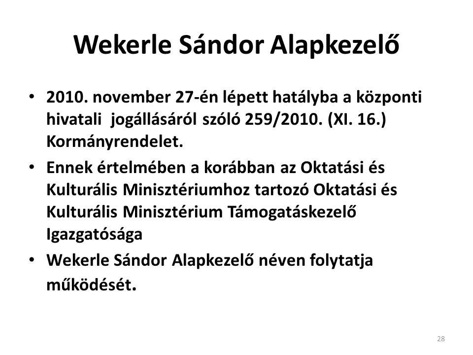 Wekerle Sándor Alapkezelő • 2010. november 27-én lépett hatályba a központi hivatali jogállásáról szóló 259/2010. (XI. 16.) Kormányrendelet. • Ennek é
