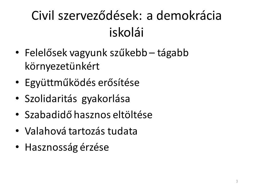 Civil szerveződések: a demokrácia iskolái • Felelősek vagyunk szűkebb – tágabb környezetünkért • Együttműködés erősítése • Szolidaritás gyakorlása • S
