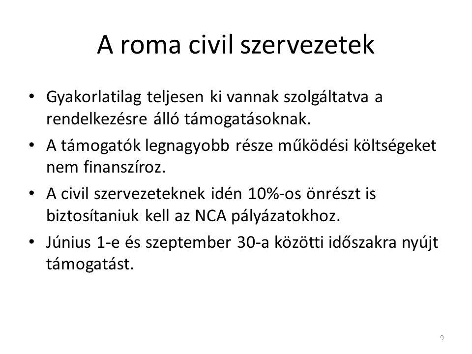 A roma civil szervezetek • Gyakorlatilag teljesen ki vannak szolgáltatva a rendelkezésre álló támogatásoknak. • A támogatók legnagyobb része működési