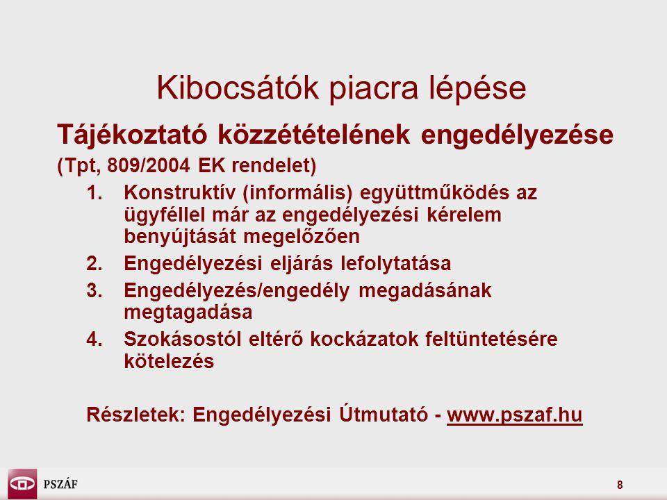 9 Piacra lépés további előkészületei •Tájékoztatási kötelezettségnek való megfelelés előkészítése –kozzetetelek.hu regisztráció •minősített elektronikus aláírás –megfelelő tartalmú kibocsátói honlap (PM rendelet) •felügyeleti elvárások (két klikkelés)