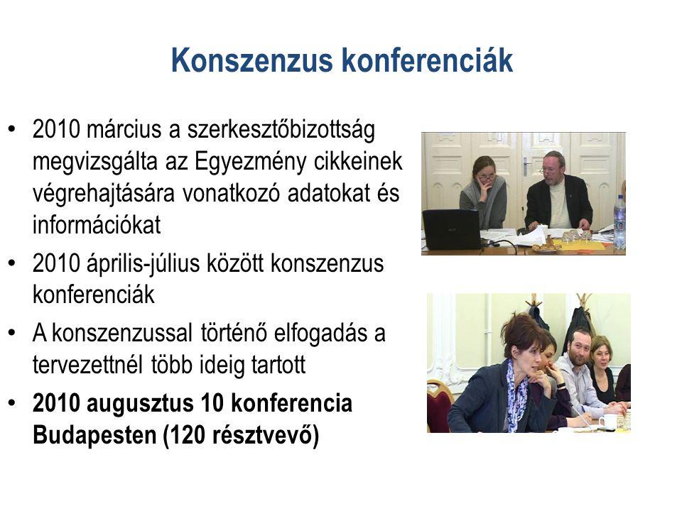 Konszenzus konferenciák • 2010 március a szerkesztőbizottság megvizsgálta az Egyezmény cikkeinek végrehajtására vonatkozó adatokat és információkat • 2010 április-július között konszenzus konferenciák • A konszenzussal történő elfogadás a tervezettnél több ideig tartott • 2010 augusztus 10 konferencia Budapesten (120 résztvevő)