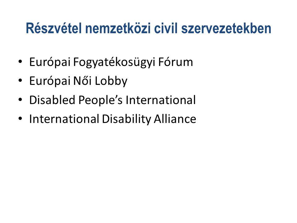 Részvétel nemzetközi civil szervezetekben • Európai Fogyatékosügyi Fórum • Európai Női Lobby • Disabled People's International • International Disability Alliance