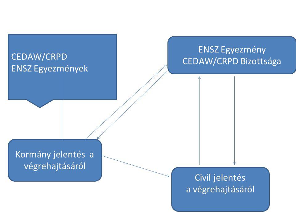 ENSZ Egyezmény CEDAW/CRPD Bizottsága CEDAW/CRPD ENSZ Egyezmények Kormány jelentés a végrehajtásáról Civil jelentés a végrehajtásáról