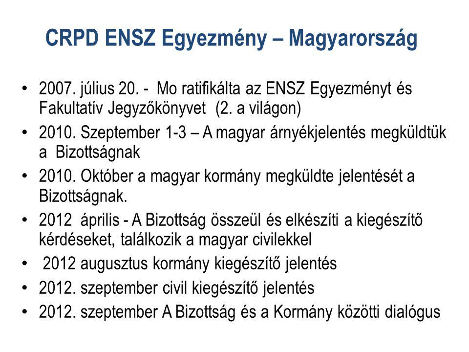 CRPD ENSZ Egyezmény – Magyarország • 2007.július 20.