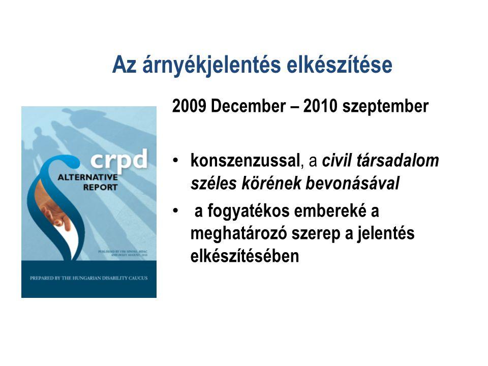 Az árnyékjelentés elkészítése 2009 December – 2010 szeptember • konszenzussal, a civil társadalom széles körének bevonásával • a fogyatékos embereké a meghatározó szerep a jelentés elkészítésében