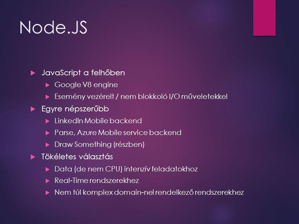 Node.JS  JavaScript a felhőben  Google V8 engine  Esemény vezérelt / nem blokkoló I/O műveletekkel  Egyre népszerűbb  LinkedIn Mobile backend  P