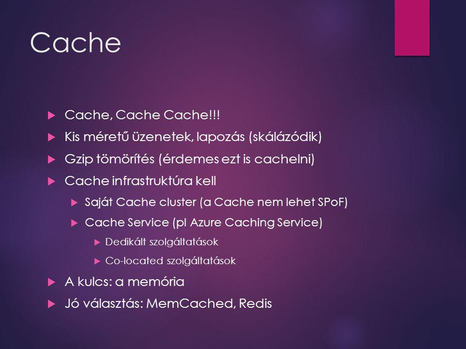 Cache  Cache, Cache Cache!!!  Kis méretű üzenetek, lapozás (skálázódik)  Gzip tömörítés (érdemes ezt is cachelni)  Cache infrastruktúra kell  Saj