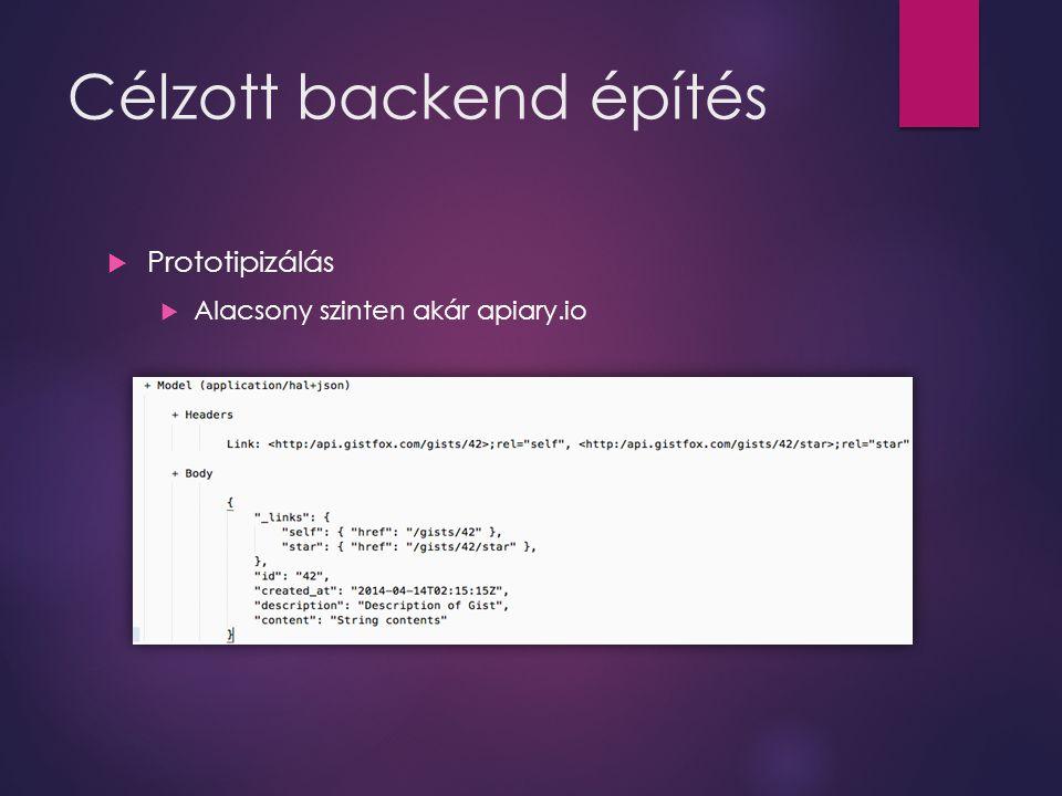 Célzott backend építés  Prototipizálás  Alacsony szinten akár apiary.io