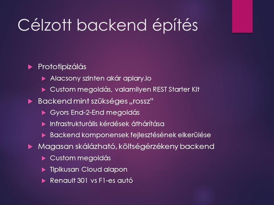 """Célzott backend építés  Prototipizálás  Alacsony szinten akár apiary.io  Custom megoldás, valamilyen REST Starter Kit  Backend mint szükséges """"ros"""