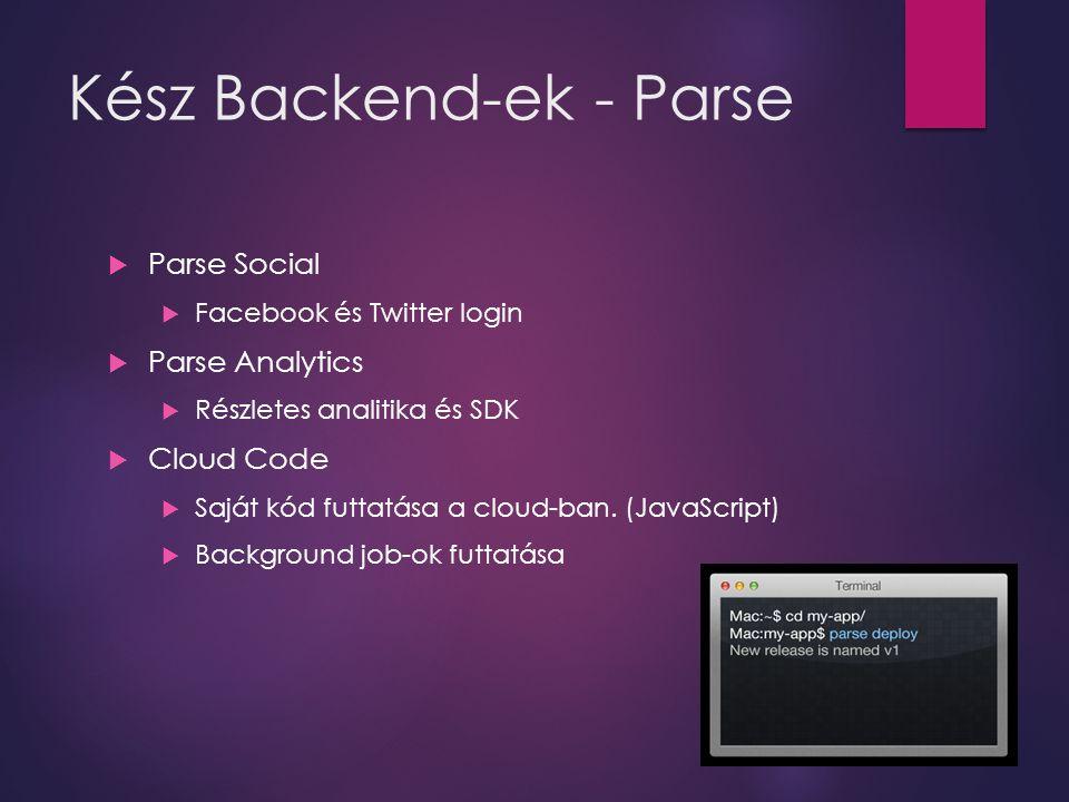 Kész Backend-ek - Parse  Parse Social  Facebook és Twitter login  Parse Analytics  Részletes analitika és SDK  Cloud Code  Saját kód futtatása a