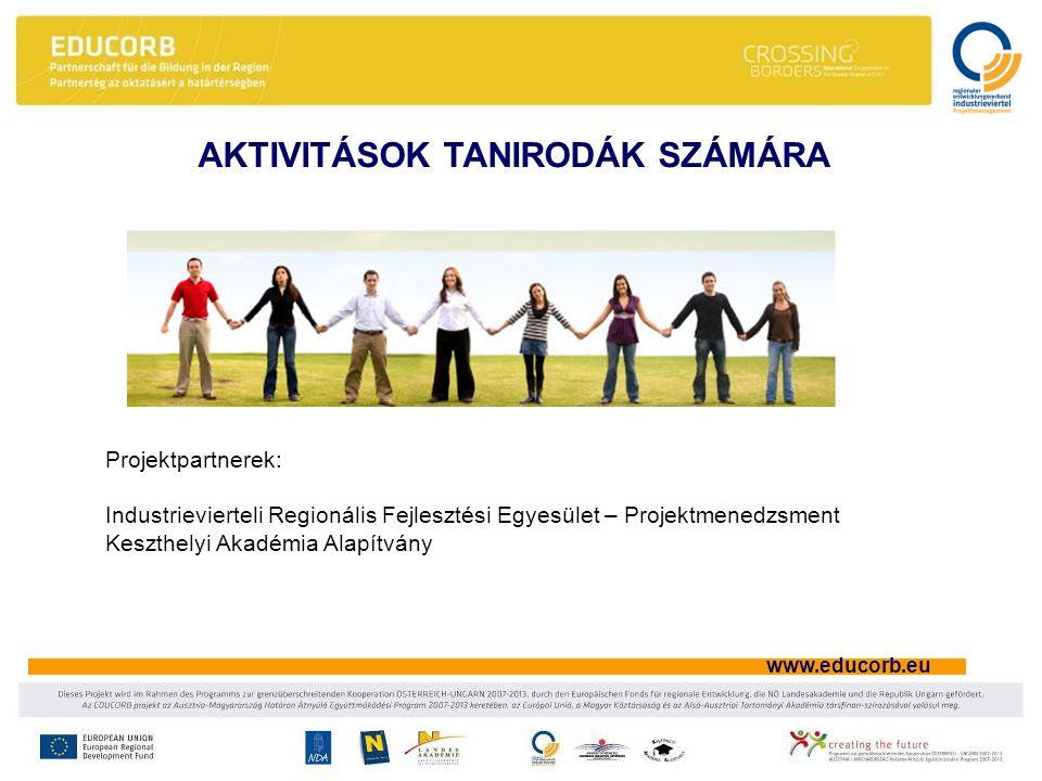 www.educorb.eu AKTIVITÁSOK TANIRODÁK SZÁMÁRA Projektpartnerek: Industrievierteli Regionális Fejlesztési Egyesület – Projektmenedzsment Keszthelyi Akadémia Alapítvány