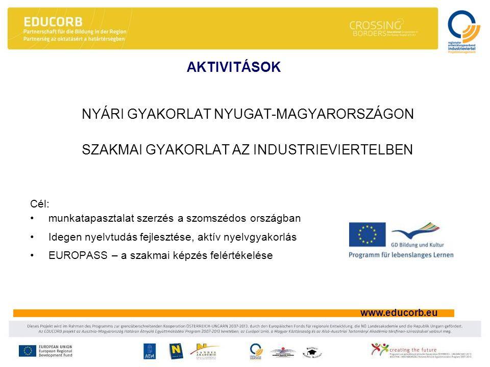 www.educorb.eu AKTIVITÁSOK NYÁRI GYAKORLAT NYUGAT-MAGYARORSZÁGON SZAKMAI GYAKORLAT AZ INDUSTRIEVIERTELBEN Cél: •munkatapasztalat szerzés a szomszédos országban •Idegen nyelvtudás fejlesztése, aktív nyelvgyakorlás •EUROPASS – a szakmai képzés felértékelése
