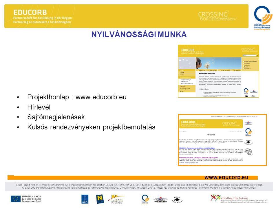 www.educorb.eu •Projekthonlap : www.educorb.eu •Hírlevél •Sajtómegjelenések •Külsős rendezvényeken projektbemutatás NYILVÁNOSSÁGI MUNKA