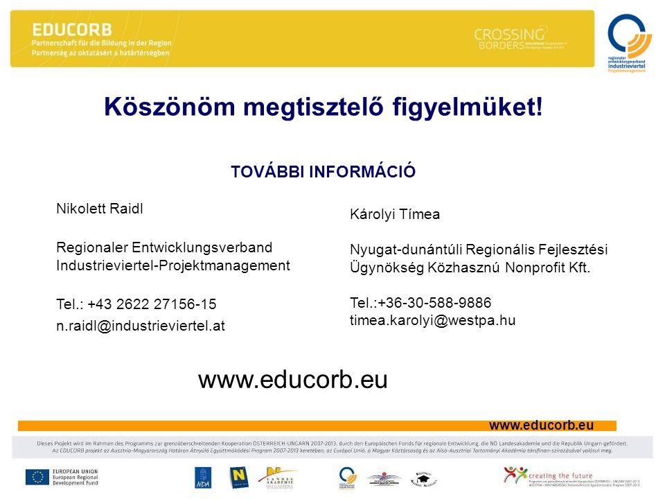www.educorb.eu Nikolett Raidl Regionaler Entwicklungsverband Industrieviertel-Projektmanagement Tel.: +43 2622 27156-15 n.raidl@industrieviertel.at Köszönöm megtisztelő figyelmüket.