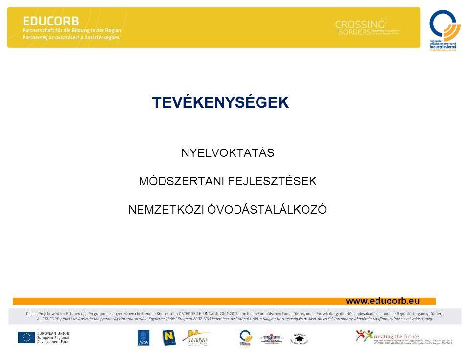 www.educorb.eu TEVÉKENYSÉGEK NYELVOKTATÁS MÓDSZERTANI FEJLESZTÉSEK NEMZETKÖZI ÓVODÁSTALÁLKOZÓ