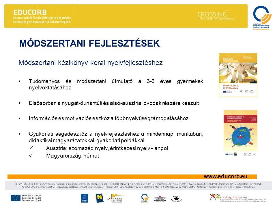 www.educorb.eu Módszertani kézikönyv korai nyelvfejlesztéshez •Tudományos és módszertani útmutató a 3-6 éves gyermekek nyelvoktatásához •Elsősorban a nyugat-dunántúli és alsó-ausztriai óvodák részére készült •Információs és motivációs eszköz a többnyelvűség támogatásához •Gyakorlati segédeszköz a nyelvfejlesztéshez a mindennapi munkában, didaktikai magyarázatokkal, gyakorlati példákkal  Ausztria: szomszéd nyelv, érintkezési nyelv+ angol  Magyarország: német MÓDSZERTANI FEJLESZTÉSEK