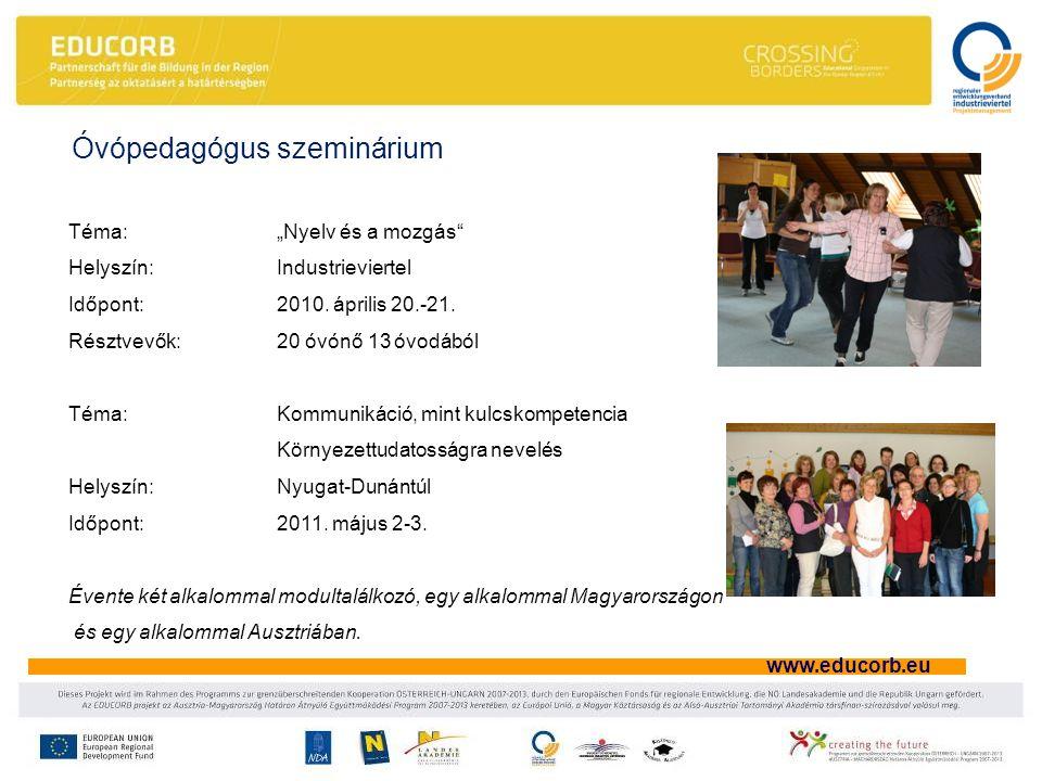 """www.educorb.eu Téma: """"Nyelv és a mozgás Helyszín: Industrieviertel Időpont: 2010."""