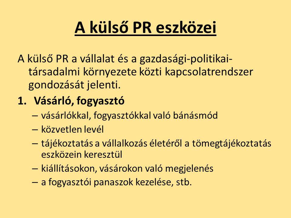 A külső PR eszközei A külső PR a vállalat és a gazdasági-politikai- társadalmi környezete közti kapcsolatrendszer gondozását jelenti. 1.Vásárló, fogya