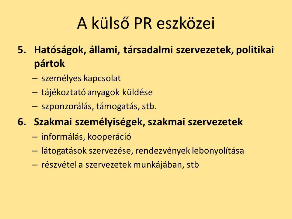A külső PR eszközei 5.Hatóságok, állami, társadalmi szervezetek, politikai pártok – személyes kapcsolat – tájékoztató anyagok küldése – szponzorálás,