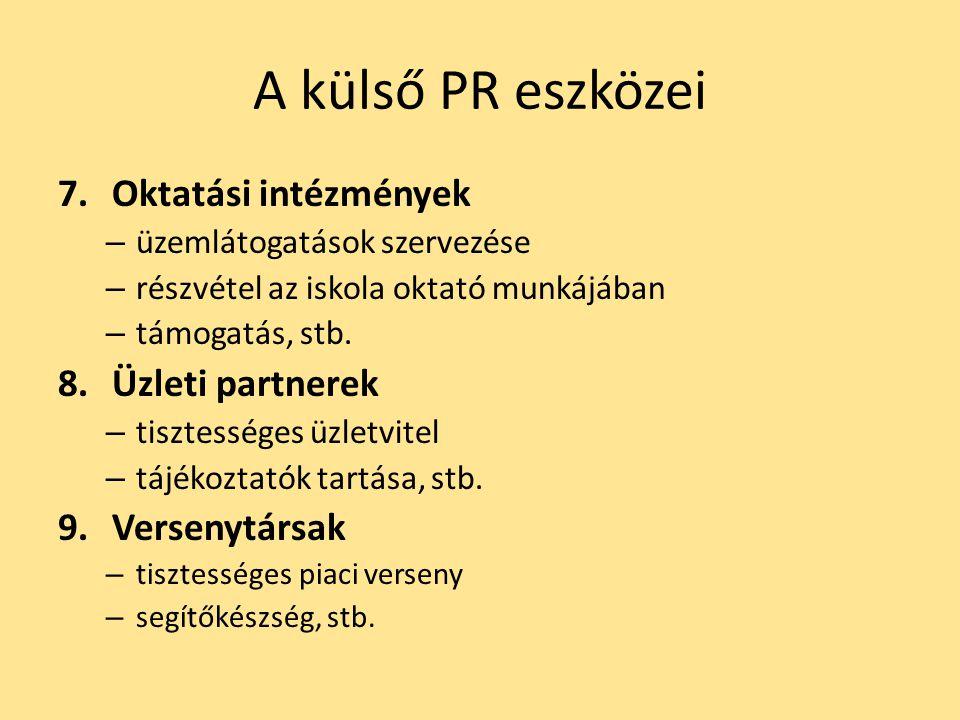 A külső PR eszközei 7.Oktatási intézmények – üzemlátogatások szervezése – részvétel az iskola oktató munkájában – támogatás, stb. 8.Üzleti partnerek –