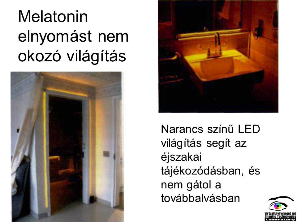 Melatonin elnyomást nem okozó világítás Narancs színű LED világítás segít az éjszakai tájékozódásban, és nem gátol a továbbalvásban