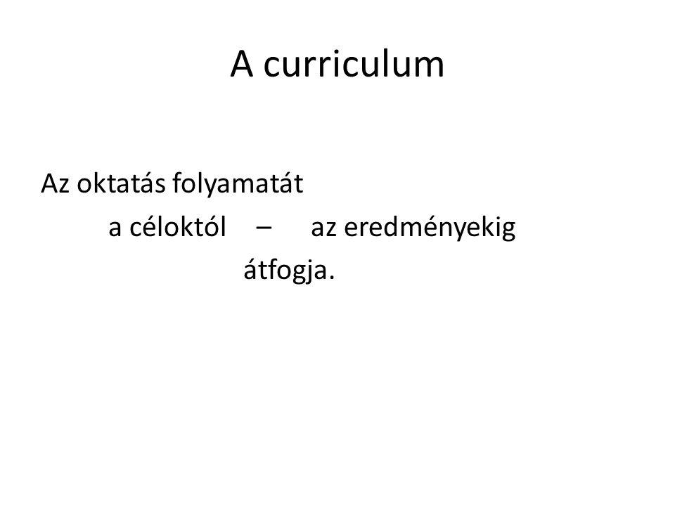 Az alaptanterv / core-curriculum / • Az oktatás központilag meghatározott, a személyiség- és képességfejlesztést szolgáló, mindenütt érvényesítendő központi tartalmának lényegét adja meg.