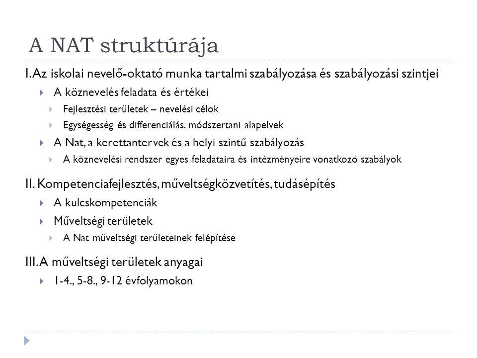 A NAT struktúrája I. Az iskolai nevelő-oktató munka tartalmi szabályozása és szabályozási szintjei  A köznevelés feladata és értékei  Fejlesztési te