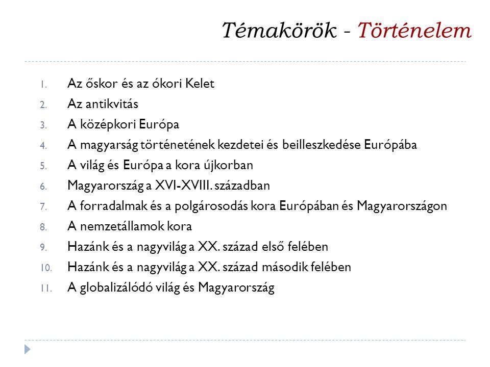 1. Az őskor és az ókori Kelet 2. Az antikvitás 3. A középkori Európa 4. A magyarság történetének kezdetei és beilleszkedése Európába 5. A világ és Eur