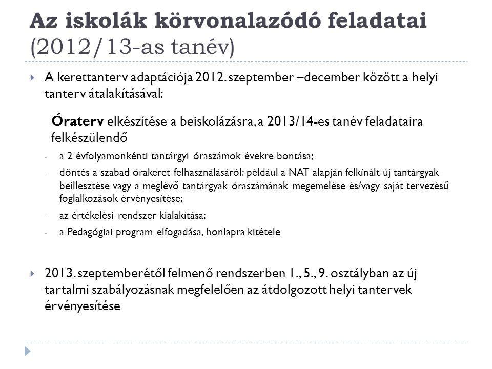  A kerettanterv adaptációja 2012. szeptember –december között a helyi tanterv átalakításával: Óraterv elkészítése a beiskolázásra, a 2013/14-es tanév