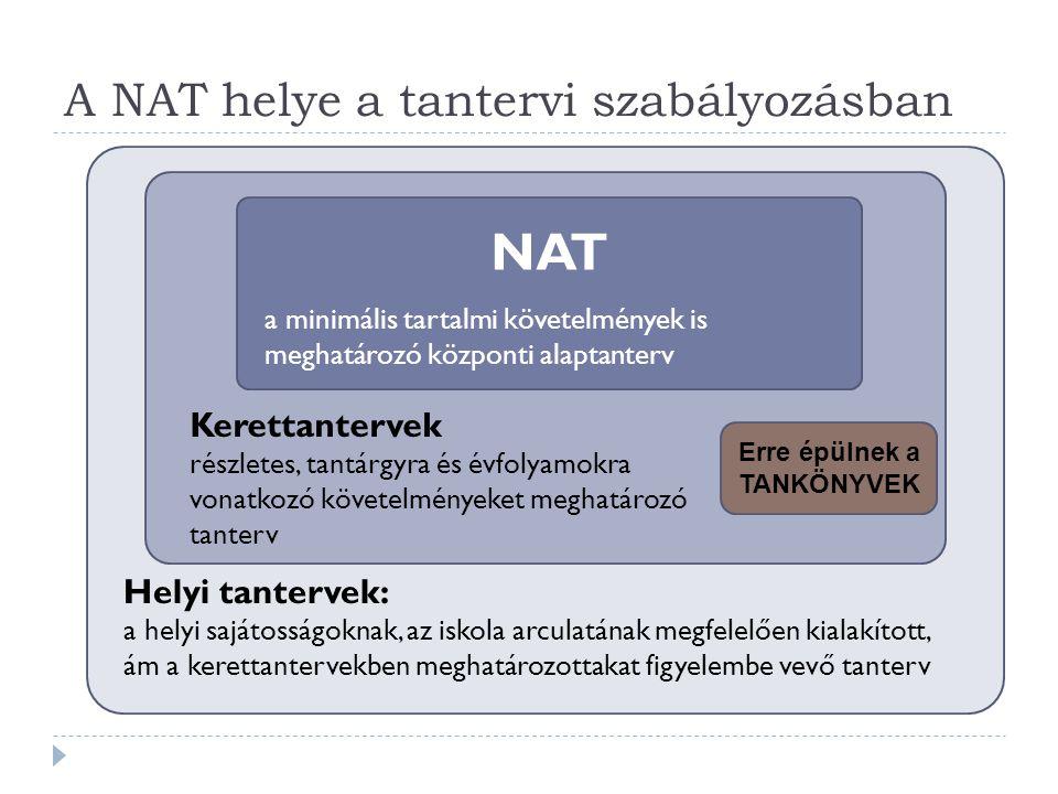 A NAT helye a tantervi szabályozásban Helyi tantervek: a helyi sajátosságoknak, az iskola arculatának megfelelően kialakított, ám a kerettantervekben