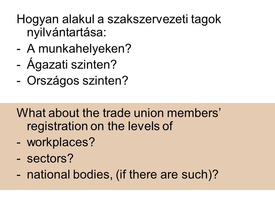 Hogyan alakul a szakszervezeti tagok nyilvántartása: -A munkahelyeken.